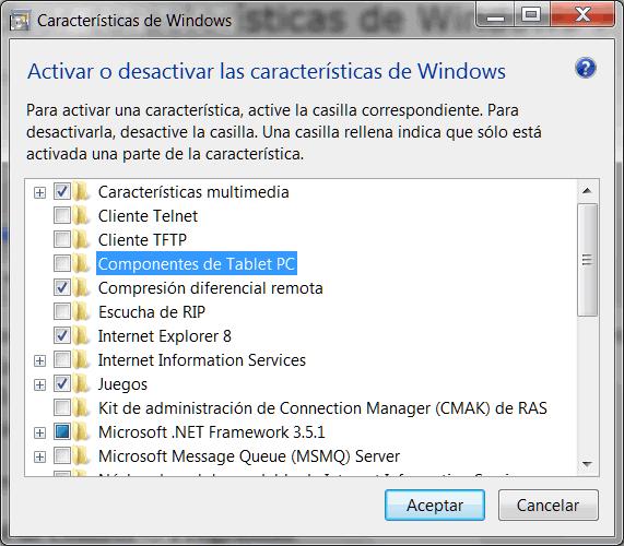 Activar o desactivar características de Windows