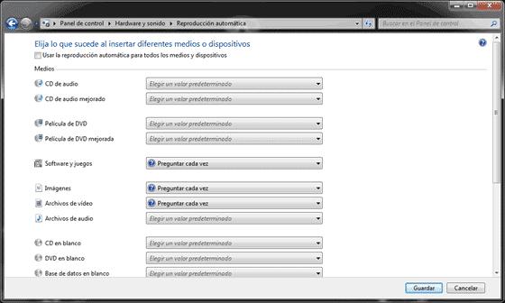 Deshabilitar la reproducción automática en Windows 7