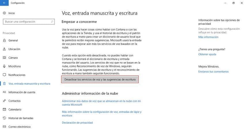 Modificaciones en la configuración de Cortana