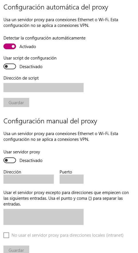 Configuración automática del proxy