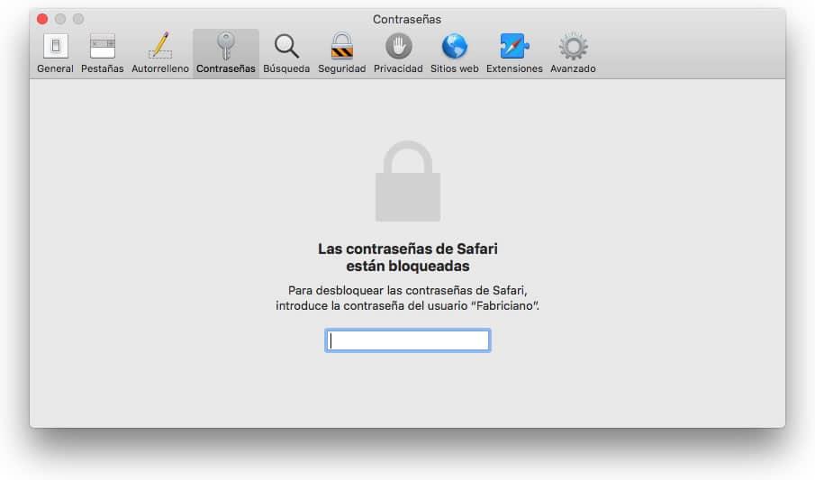 Las contraseñas de Safari están bloqueadas